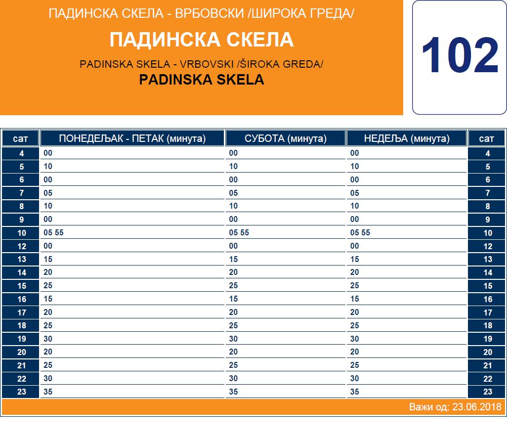 Letnji red vožnje linije 102 Padinska Skela – Vrbovski