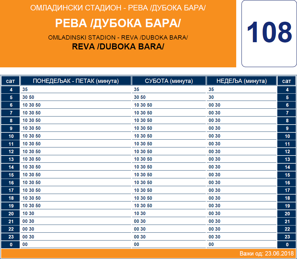 Letnji red vožnje linije 108 Reva – Omladinski stadion