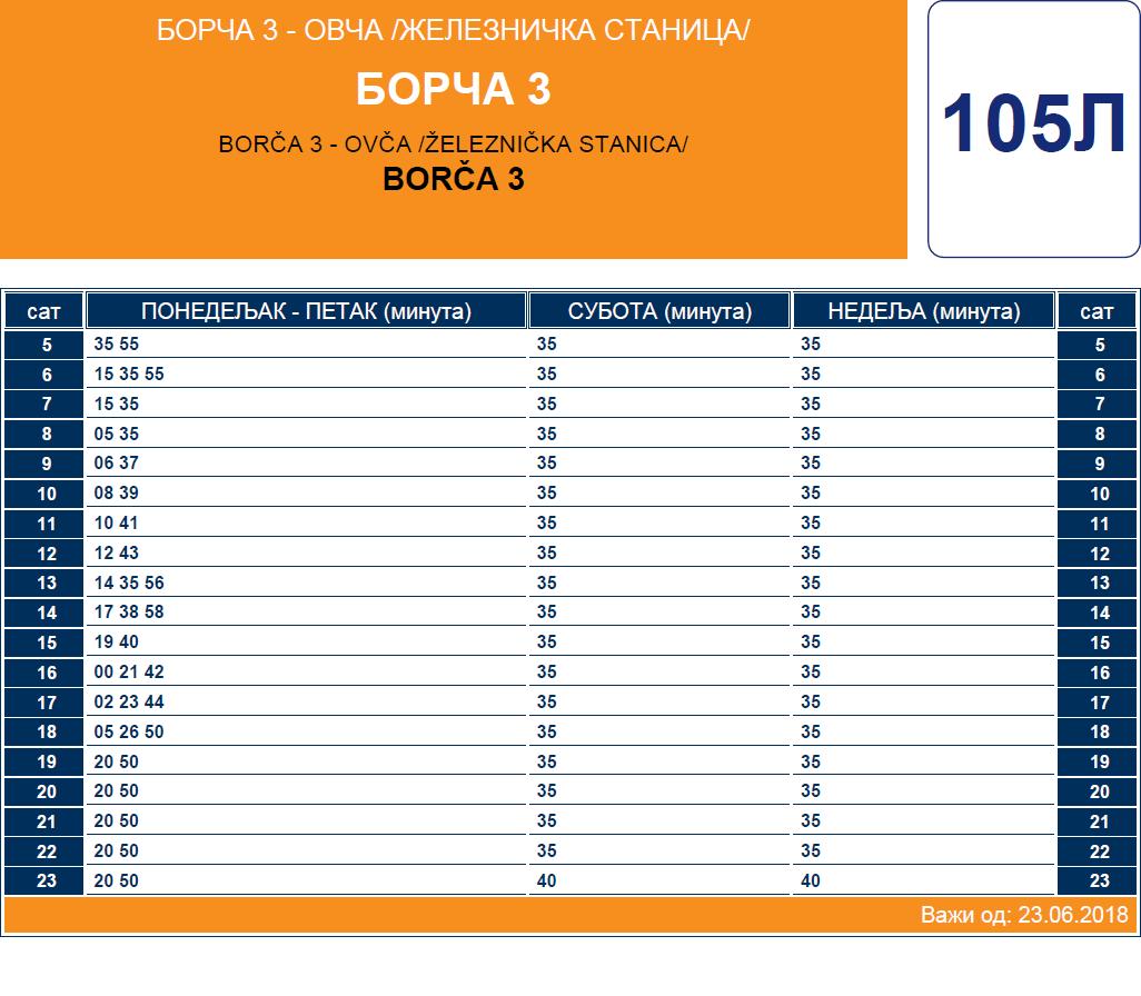 Letnji red vožnje linije 105L Borča - Ovča
