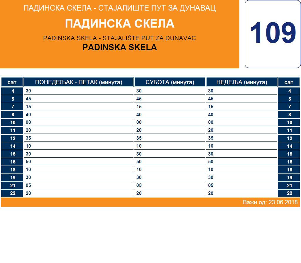 Letnji red vožnje linije 109 Padinska Skela - Čenta