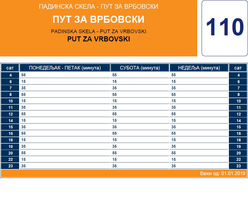 Zimski red vožnje linije 110 Padinska Skela - Sefkerin - Opovo