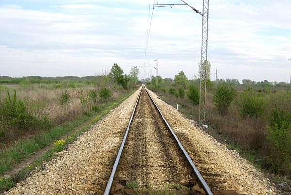 Pruga Beograd Pančevu snimljeno kod Sibnice